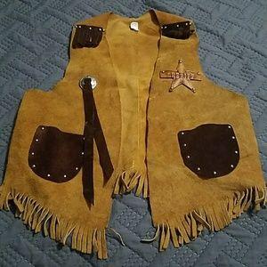 Vintage Leather Sheriff Cowboy Vest